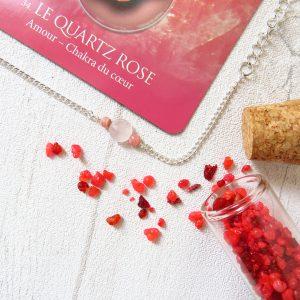 Bijou quartz rose rhodochrosite lithothérapie inox